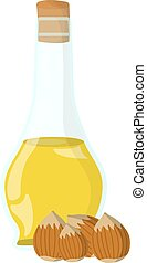 Hazelnut oil Icon. Oil, Fat, Food label, logo for Web and Banners. Cartoon Vector Illustration