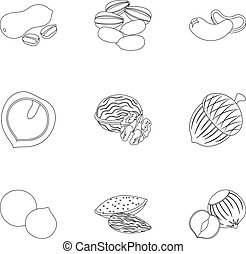 Hazelnut, pistachios, peanuts and other types of nuts.Different types of nuts set collection icons in outline style vector symbol stock illustration web.
