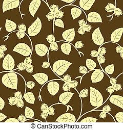 hazelnut seamless background - vector hazelnut on branch...