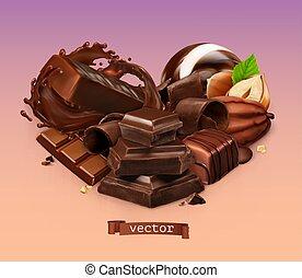 hazelnut., shavings, チョコレートバー, はね返し, ベクトル, chocolate., 小片, 3d, 現実的, ココア, キャンデー, 豆
