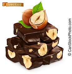 Hazelnuts and chocolate. 3d realistic vector icon