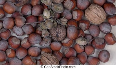 hazelnuts and walnuts dry nuts. Healthy food. turntable -...