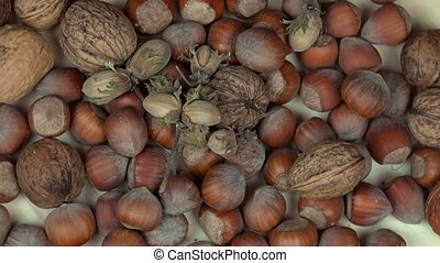 hazelnuts and walnuts dry nuts. Healthy food. anticlockwise...