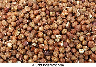 hazelnuts background in a market, in France