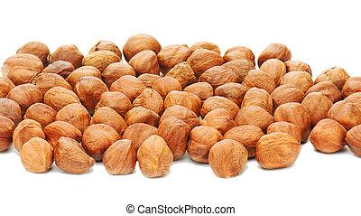 Hazelnuts background isolated on white background.