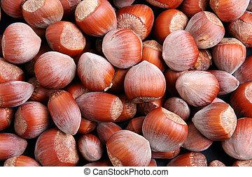 Hazelnuts filling the frame