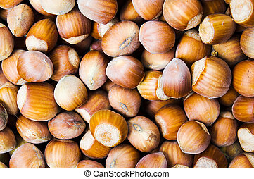 Hazelnuts forming a background