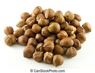 Group of hazelnuts isolated on white background