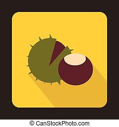 Hazelnuts icon in flat style