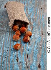Hazelnuts in a bag.