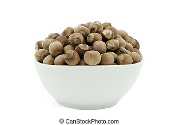 Hazelnuts in a White Dish, Front View