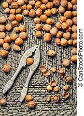 Hazelnuts in old wicker basket
