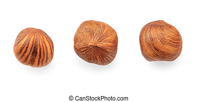 Hazelnuts isolated on white background. Top view. Flat lay. Creative layout with hazelnuts