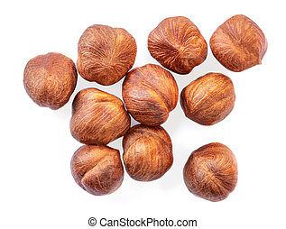 Hazelnuts isolated on white background. Top view. Flat lay