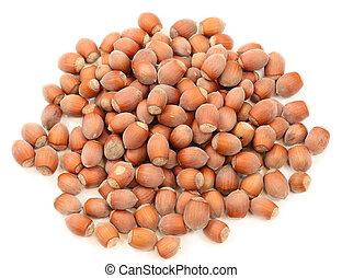 Hazelnuts isolated over white background