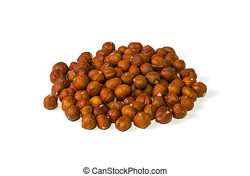 Hazelnuts nut isolated on the white background. Front views
