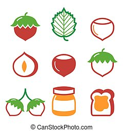 Hazelnuts, nuts - food vector icons set