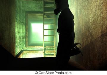 HAZMAT Inspector - Man dressed in biological hazardous...