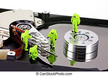 HAZMAT team inspecting a hard drive for viruses - Concept...