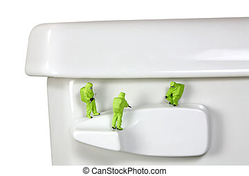 HAZMAT team inspecting germs and bacteria on a toilet handle...