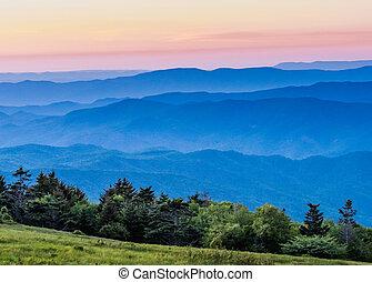 Hazy Blue Ridge Mountains at Sunset