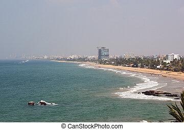 hazy colombo shoreline - view of colombo shoreline from ...