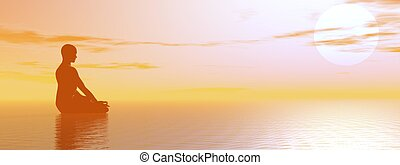 Man meditating upon the ocean by beautiful hazy sunset