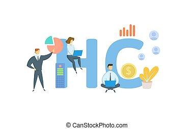 hc, 平ら, keywords, capital., white., icons., 隔離された, illustration., ベクトル, 人間の人々, 概念
