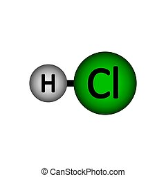 HCl - Hydrogen chloride molecule icon on white background. ...