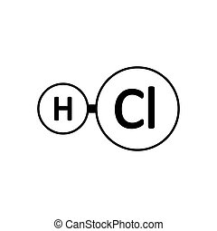 HCl2 - Hydrogen chloride molecule icon on white background. ...