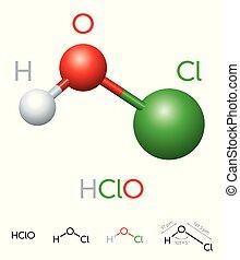 HClO Hypochlorous acid molecule model and chemical formula -...