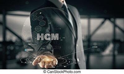 hcm, com, hologram, homem negócios, conceito