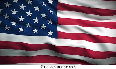 hd., американская, флаг, looped.