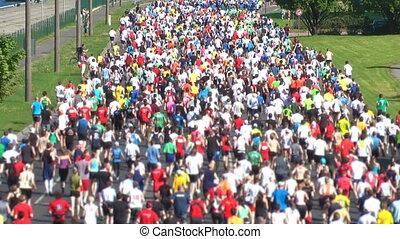 hd, 1080, -, miasto, maraton