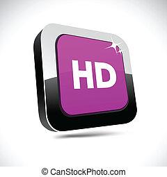 HD 3d square button.