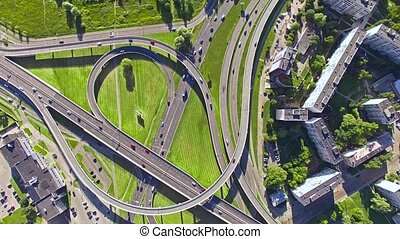 HD - Aerial view. Road interchange - Aerial, view, Road,...