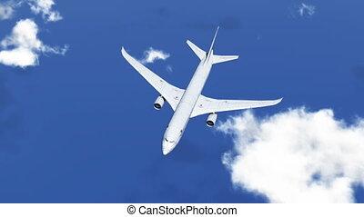 HD - Airplane in Sky. Birds-eye view