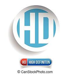 HD button - High Definition vector set