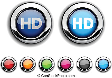 HD button. - HD realistic buttons. Vector illustration. .