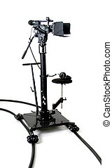 hd-camcorder on the dolly - black stand high-definition ...