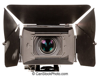 hd camcorder - the front view of stand black hd-camcorder on...