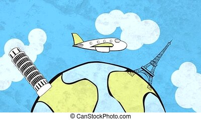 HD cartoon of airplane flying around the globe, with...