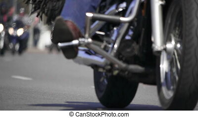 HD - Chopper motorcycles. Bottom view of a Bikers riding