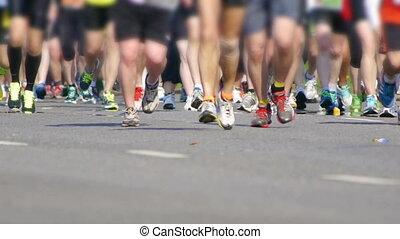 HD - City Marathon. Feet of people