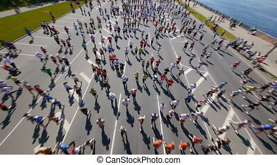HD - City marathon. Top view