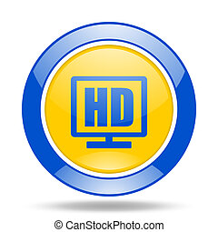 hd display blue and yellow web glossy round icon