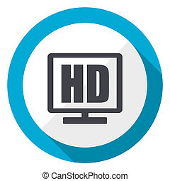 Hd display blue flat design web icon