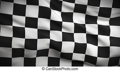 hd., drapeau, checkered, looped.