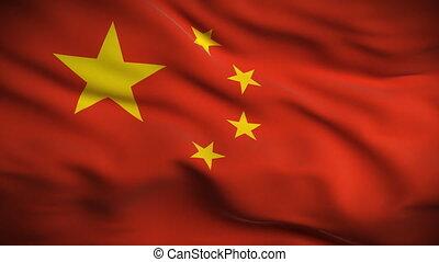 hd., drapeau, chinois, looped.