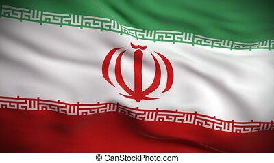 hd., drapeau, looped., iranien